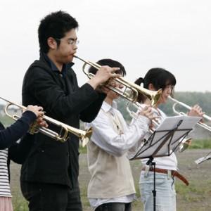 吹奏楽部の応援は盛り上がりました。
